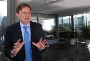 O candidato do PRB à prefeitura do Rio, Marcelo Crivella, após reunião com o ministro da Saúde, em Brasília Foto: Ailton de Freitas / Agência O Globo