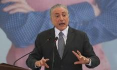 O presidente Michel Temer participa da cerimônia no Palácio do Planalto Foto: André Coelho/Agência O Globo