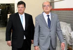 O presidente do TRE-RJ, Antonio Jayme Boente, e o ministro Gilmar Mendes, presidente do Tribunal Superior Eleitoral (TSE) Foto: TRE-RJ/26-08-2016 / Divulgação