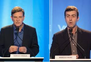 Os candidatos à prefeitura do Rio, Marcelo Crivella (PRB) e Marcelo Freixo (PSOL) Foto: Agência O Globo / Antonio Scorza