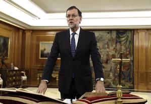 Mariano Rajoy faz juramento de primeiro-ministro em Madri, na Espanha Foto: Chema Moya / AP
