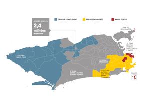 Mapa mostra área conquistada por Crivella no segundo turno Foto: Agência O Globo