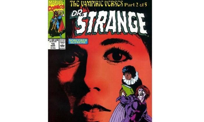 Capa de 'Doutor Estranho' com Amy Grant ao fundo Foto: Reprodução