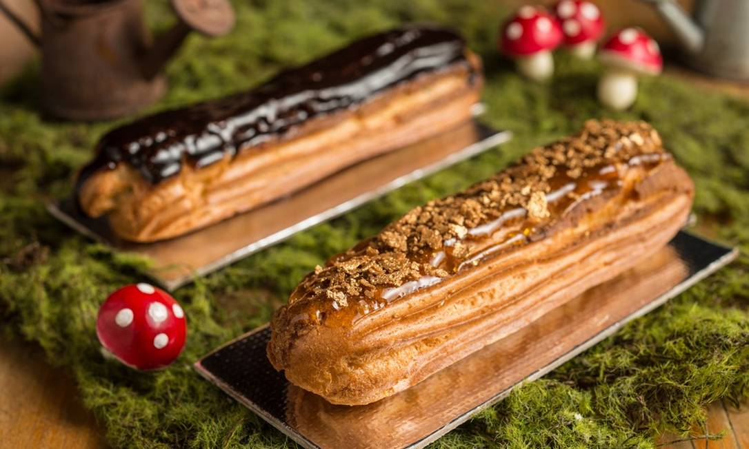 Empório Jardim. Destaque para as éclairs (R$15,50) de chocolate belga e de baunilha com crocante de caramelo Tomás Rangel / Divulgação