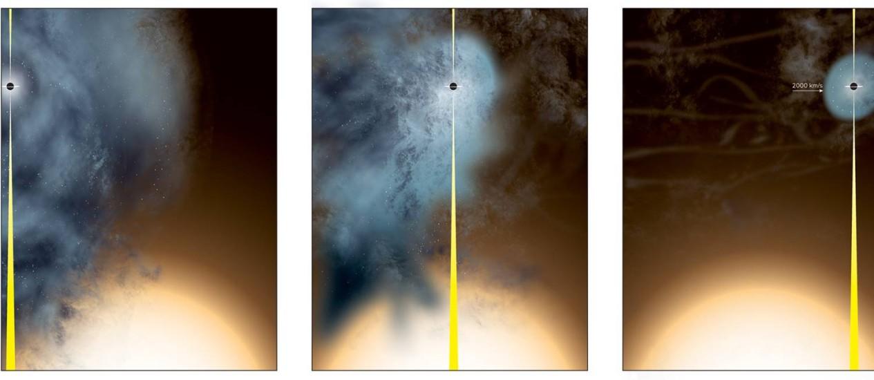 """Sequência de ilustrações mostra a passagem da galáxia menor pela maior, em que esta """"rouba"""" praticamente todas as estrelas e material da outra e deixa apenas o buraco negro supermaciço de seu centro """"nu"""" Foto: Bill Saxton/NRAO/AUI/NSF"""