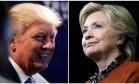 Combinação de fotos mostra Donald Trump em um comício em Charlotte, na Carolina do Norte, e Hillary Clinton em um ato de campanha em Winston-Salem, no mesmo estado Foto: REUTERS PHOTOGRAPHER / REUTERS