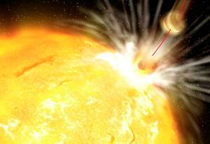 Ilustração mostra planeta sendo devorado pela estrela Foto: Gabi Perez /IAC