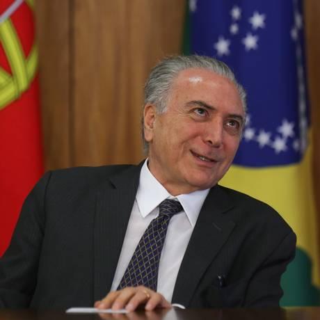 O Presidente da República, Michel Temer durante declaração no Palácio do Planalto Foto: ANDRE COELHO/1-11-2016 / Agência O Globo