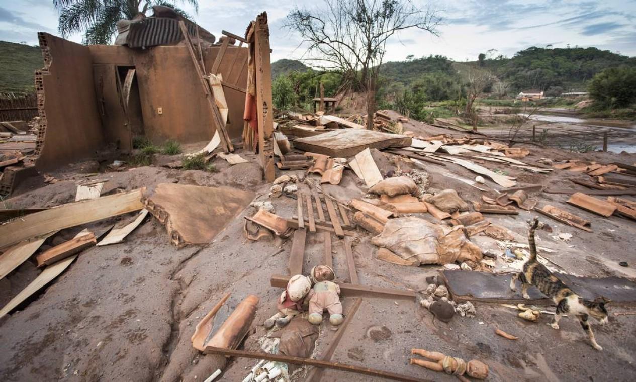 Um ano depois da onda de lama que destruiu Paracatu de Baixo, o distrito de Mariana, em Minas Gerais, ainda é cenário da devastação Foto: Ana Branco / Agência O Globo