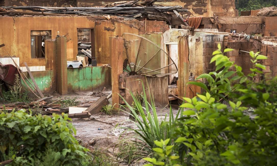 Ruínas em Bento Rodrigues: onda de lama percorreu mais de 600 quilômetros Foto: Ana Branco / Agência O Globo