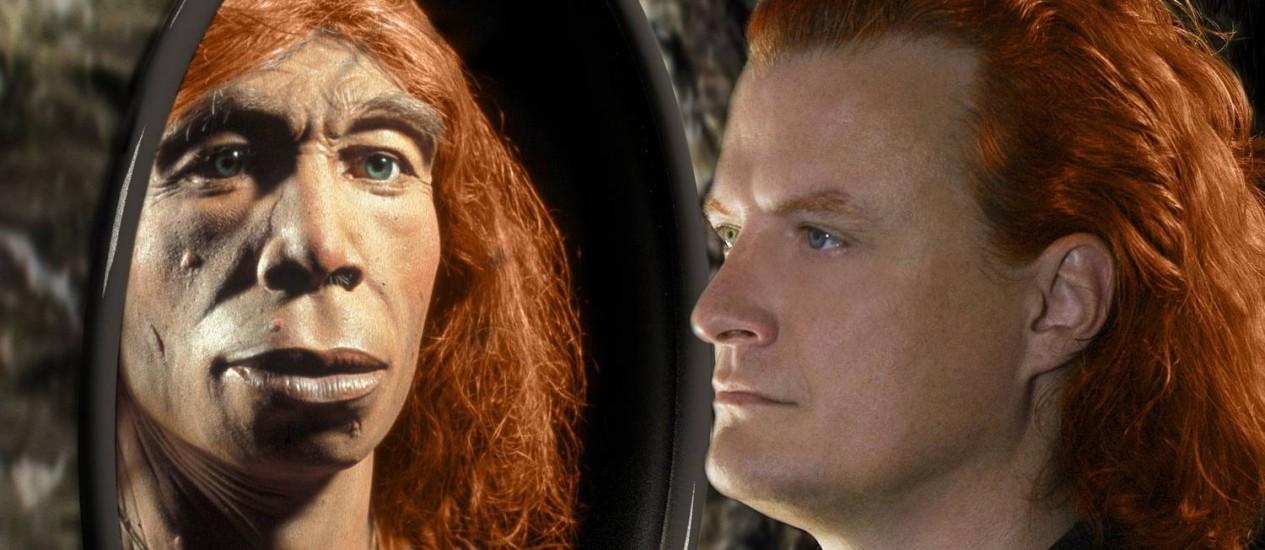 Ilustração de uma neandertal e um humano moderno: herança genética pequena da miscigenação de hoje é resultado de seleção natural no passado Foto: Divulgação/Science