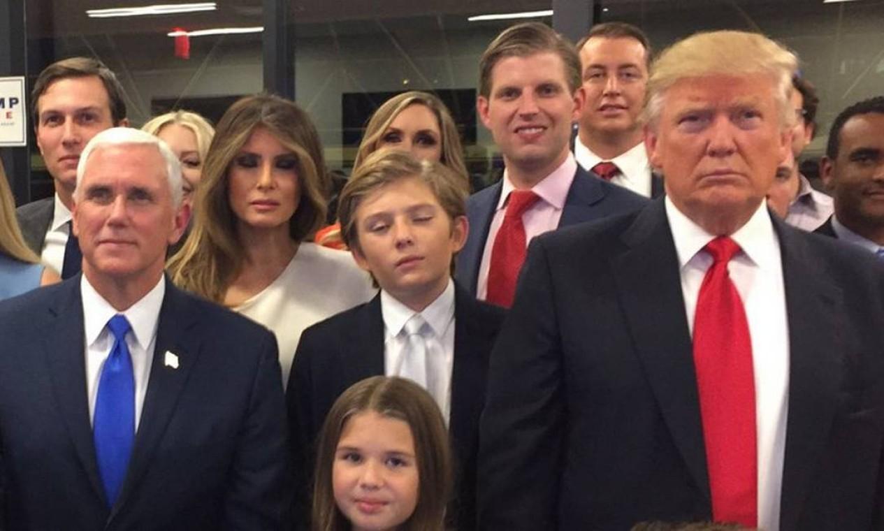 Trump, Pence e família acompanham apuração dos votos em Nova York Foto: Twitter/@realDonaldTrump
