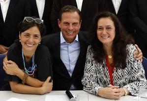 João Doria anunciou mais oito secretários, entre eles duas mulheres, Soninha Francine (Desenvolvimento Social) e Heloisa Proença (Desenvolvimento Urbano) Foto: Edilson Dantas / Agência O Globo