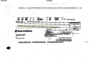 Cheque direcionado para o comitê do candidato a vice-presidente Michel Temer Foto: Reprodução