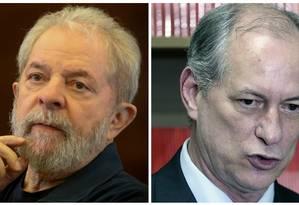 Lula e Ciro Gomes, cotados para disputar a Presidência em 2018 Foto: Montagem O GLOBO