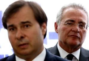 Os presidentes da Câmara e do Senado, respectivamente, Rodrigo Maia e Renan Calheiros Foto: Aílton de Freitas/ Agência O Globo