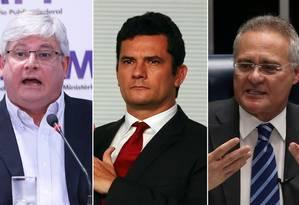 O procurador-geral da República, Rodrigo Janot, o juiz Sergio Moro e o presidente do Senado, Renan Calheiros (PMDB-AL) Foto: Fotomontagem / Agência O Globo