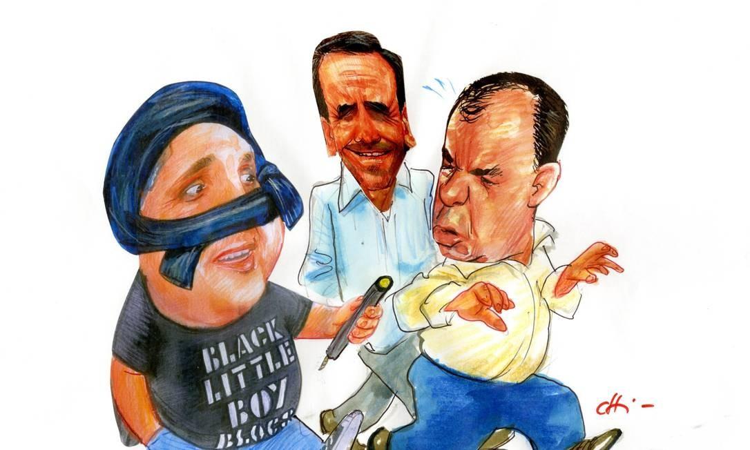 Cabral ao lado do ex-governador Anthony Garotinho, aliado que o ajudou a se eleger governador em 2006, e Eduardo Paes Foto: Chico Caruso / Agência O Globo