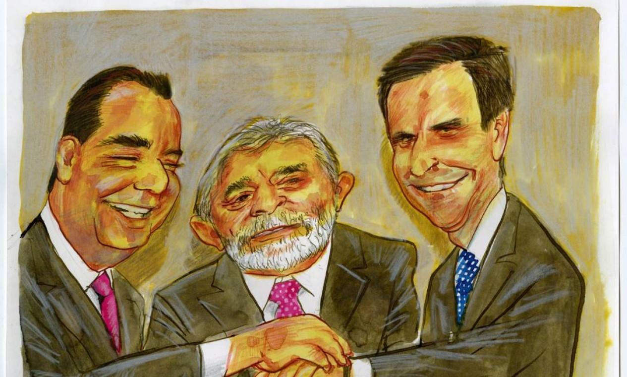Aliança entre Cabral, o ex-presidente Lula e o prefeito do Rio, Eduardo Paes, é ilustrada em 2008 Foto: Agência O Globo