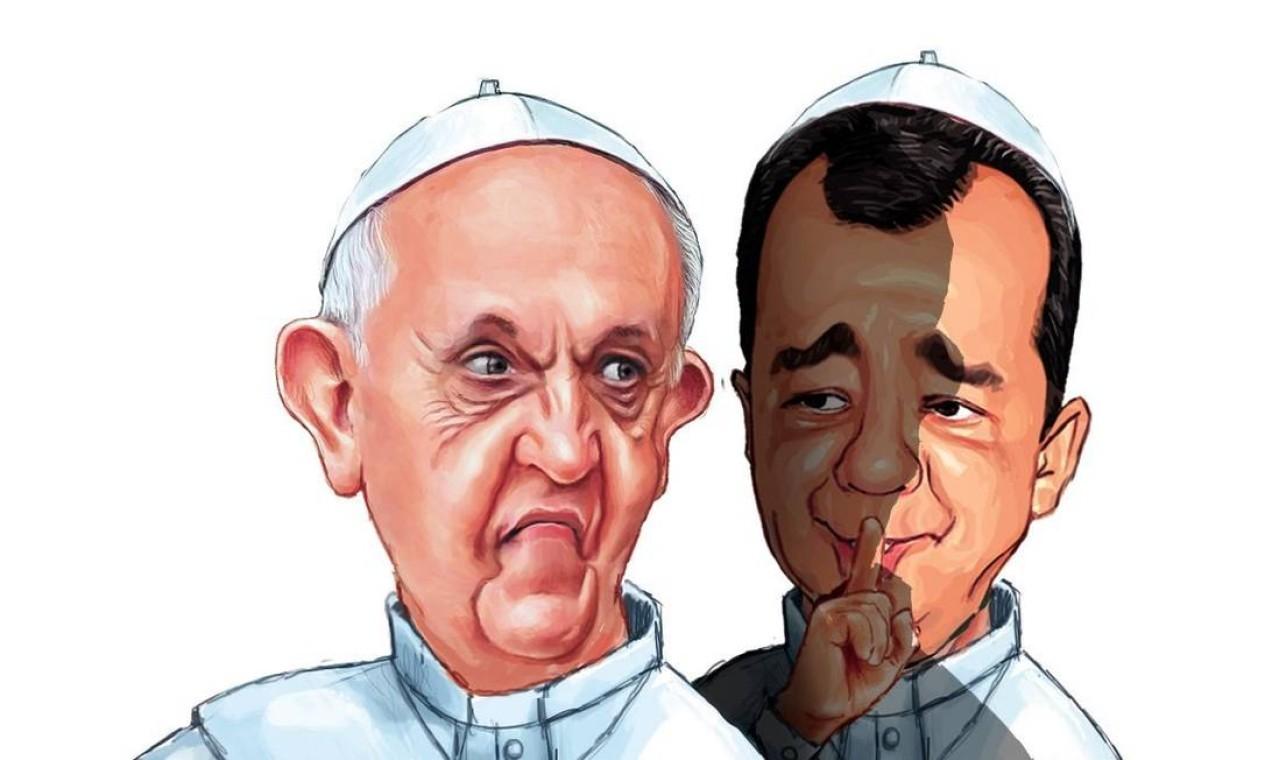 Cabral aparece, em 2013, ao lado do Papa Francisco, em visita ao Rio naquele ano Foto: Amarildo / Agência O Globo
