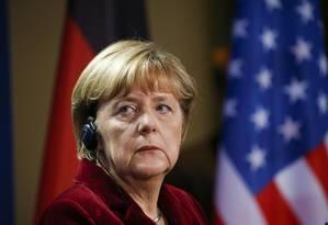 A chanceler alemã Angela Merkel durante coletiva de imprensa com o presidente dos EUA, Barack Obama, em Berlim Foto: KEVIN LAMARQUE / REUTERS