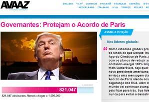 Campanha quer entregar um milhão de assinaturas a governantes presentes na COP-22 Foto: Reprodução / Avaaz