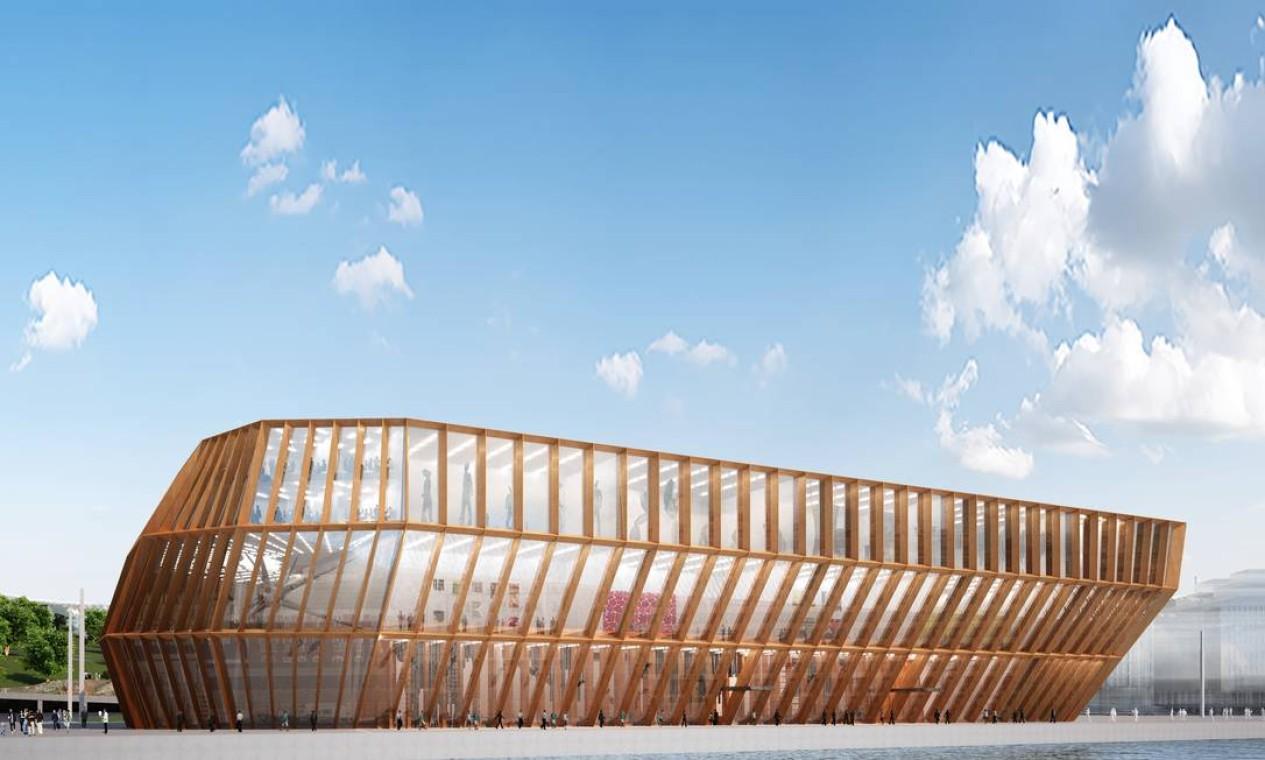Projeto para o Museu Guggenheim de Helsinki, cujas lâminas se movem para controlar a luz. O formato lembra uma grande barco Foto: Divulgação