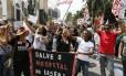 O protesto de servidores do estado em frente à Alerj