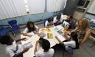 Alunos da Escola Municipal General Humberto de Souza Mello, no Maracanã Foto: Paulo Nicolella / Agência O Globo