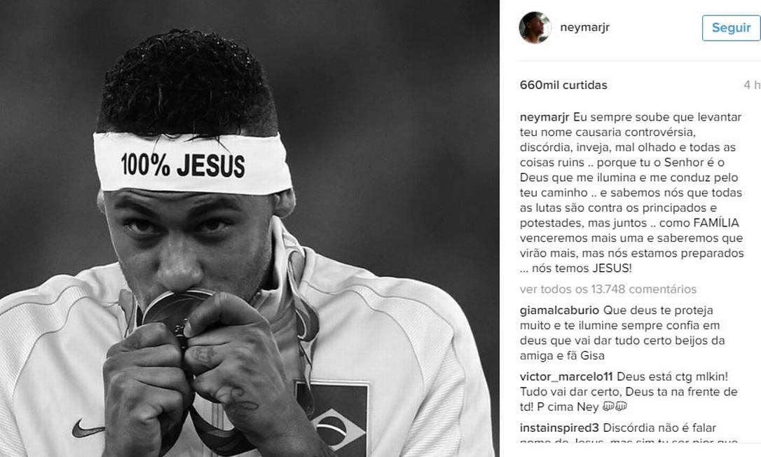Neymar usou as redes sociais pela primeira vez Foto: Reprodução