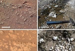 Visão da superfície marciana (à esquerda) e da chilena Foto: Divulgação/Universidade do Arizona