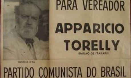 """Candidato. Na campanha de 1947, o slogan de Apparício Torelly era """"Mais leite! Mais água! Mas menos água no leite: ele foi eleito com outros 17 vereadores comunistas Foto: 1947 / Reprodução"""