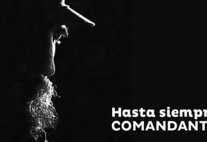 Banner do Cubadebate fez referência à despedida de Che Guevara ao se despedir de Fidel com os dizeres 'Até sempre, comandante' Foto: Reprodução
