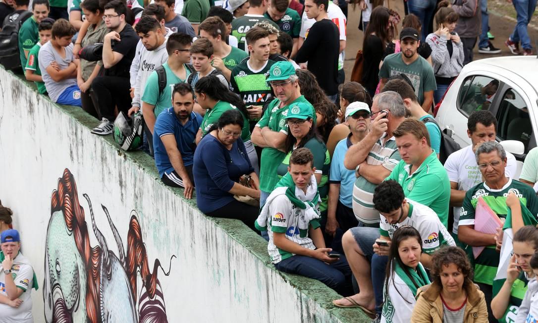 Fans do Chapecoense na Arena Conda . PAULO WHITAKER / REUTERS