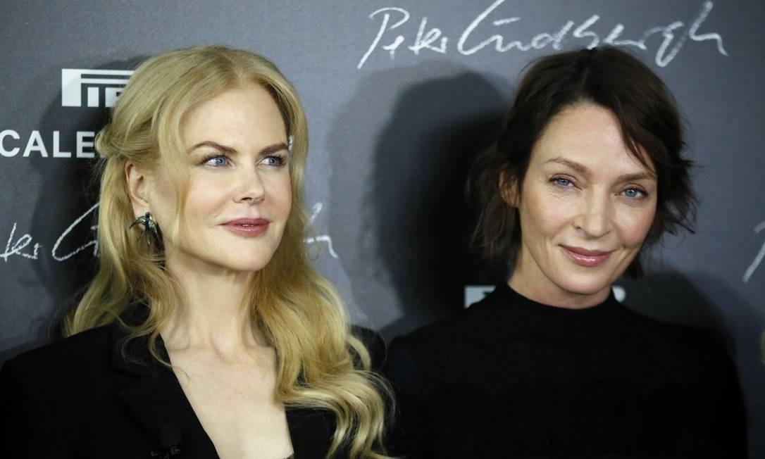 Nicole Kidman e Uma Thurman na coletiva de imprensa de lançamento Foto: Francois Mori / AP