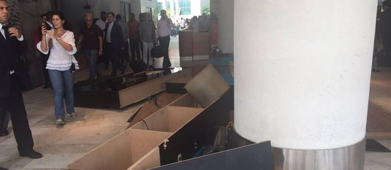 Lounge da Uber é destruído no Aeroporto Santos Dumont Foto: Divulgação