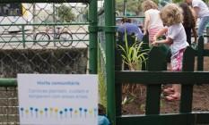 Cerca de 150 pessoas participaram da ação, na Praça do Teatro Ziembinski, na Tijuca. Entre outras atividades, deram início a uma horta comunitária, proposta por alunos da Laje Foto: Divulgação/ Rafael Baranda