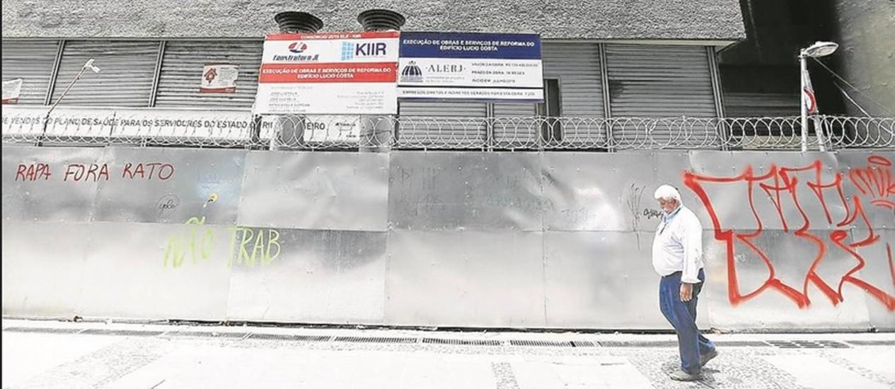 Mudança. A obra no Banerjão, no Centro, que vai abrigar novos gabinetes de deputados, só termina em 2018 Foto: Pablo Jacob