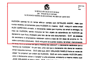Trecho do depoimento de Wagner Jordão Garcia, apontado pelo MPF como operador de Hudson Braga, ex-secretário de Obras do governo Cabral Foto: Divulgação