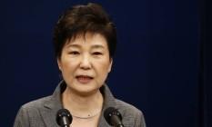 A presidente da Coreia do Sul, Park Geun-Hye, disse em discurso que aceita renunciar após escândalo Foto: JEON HEON-KYUN / AFP