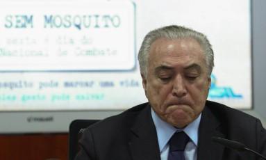 Presidente Michel Temer durante evento nesta sexta-feira, sobre o Dia Nacional de Combate ao MosquitoTransmissor da Dengue, Zika e Chikungunya Foto: Andre Coelho/Agência O Globo