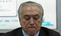 Temer durante videoconferência: perguntas de jornalistas irritaram presidente Foto: ANDRE COELHO / Andre Coelho