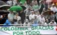 Faixa na Arena Condá agradecendo o apoio dos colombianos após a tragédia Foto: NELSON ALMEIDA / AFP