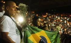 Homenagem dos colombianos no estádio Atanásio Girardot Foto: Antonio Scorza/ Agencia O Globo