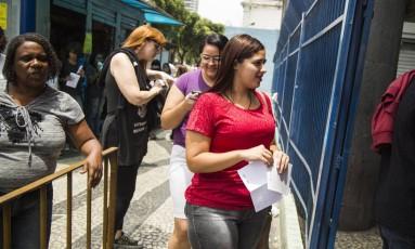 Segunda aplicação da prova do Enem no campus da Estácio, na Av. Presidente Vargas, no Rio Foto: Bárbara Lopes