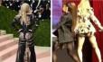 Madonna em dois momentos: à esquerda, no MET Gala, em maio, e, à direita, no show de Miami: fãs suspeitam de implante no bumbum Foto: Montagem com fotos AFP e Reprodução/Twitter