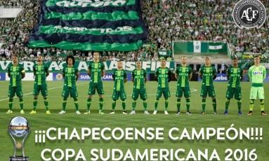Conmebol oficializou a Chapecoense como campeã da Copa Sul-Americana Foto: Divulgação