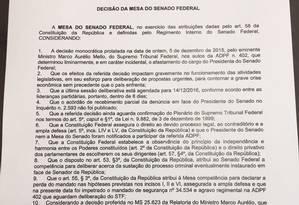 Texto da Decisão da mesa do Senado que mantém Renan Calheiros na presidência da Casa Foto: Reprodução