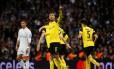 Autor do primeiro gol e garçom no segundo, Aubameyang foi o nome do jogo Foto: SUSANA VERA / REUTERS