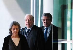 A presidente do STF, Cármen Lúcia, e os ministros Celso de Mello e Marco Aurélio Foto: José Cruz/Agência Brasil / Agência O Globo